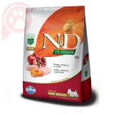 N&D PUMPKIN CANINE ADULT MINI BREEDS FRANGO ABÓBORA E ROMÃ 2,5KG