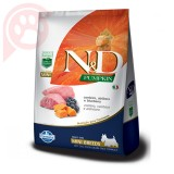 N&D PUMPKIN CANINE ADULT MINI BREEDS CORDEIRO ABÓBORA E BLUEBERRY 2,5KG