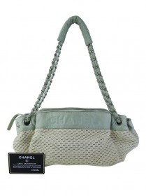 Bolsa Chanel Lax Accordion Woven Creme e Menta