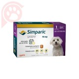 ANTIPULGAS E CARRAPATOS SIMPARIC 10MG CÃES 2,6-5KG