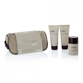 Mens Skin Care Travel KIT Ahava Energize Com After Shave Moist 50 ml, Exfoliating 100 ml e Foam Shaving 100 ml